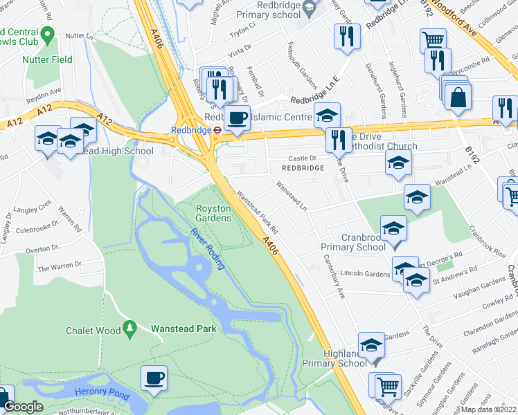 map of restaurants, bars, coffee shops, grocery stores, and more near Wanstead Park Road in Greater London