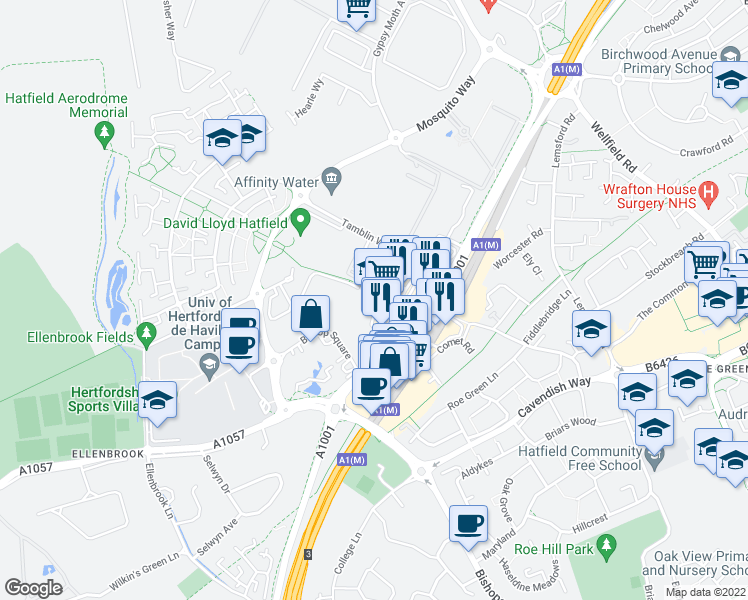 map of restaurants, bars, coffee shops, grocery stores, and more near 167 Parkhouse Court in Hertfordshire