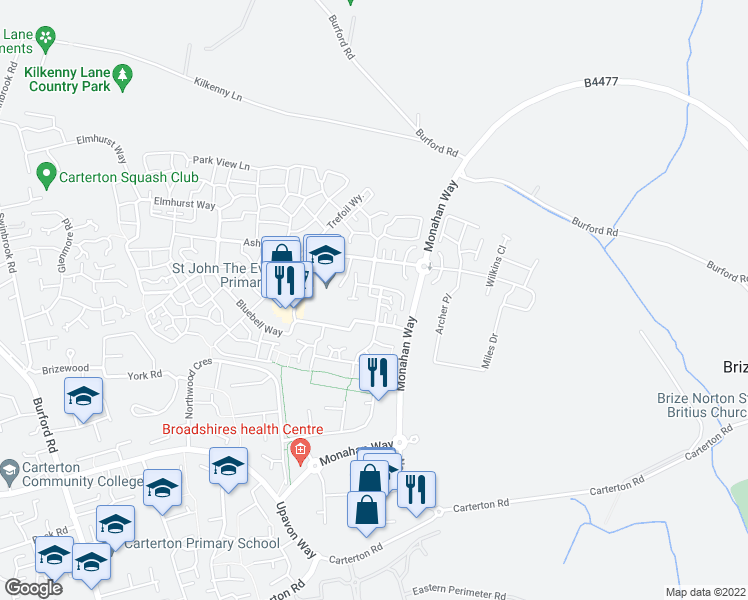 map of restaurants, bars, coffee shops, grocery stores, and more near Woodrush Gardens in Oxfordshire
