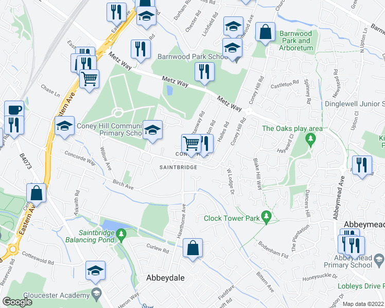 map of restaurants, bars, coffee shops, grocery stores, and more near in Gloucestershire