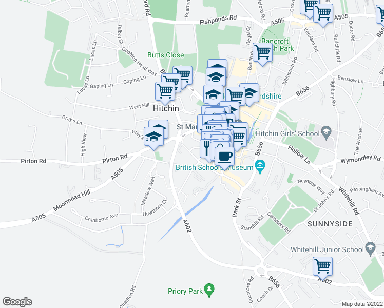 map of restaurants, bars, coffee shops, grocery stores, and more near Tilehouse Street in Hertfordshire