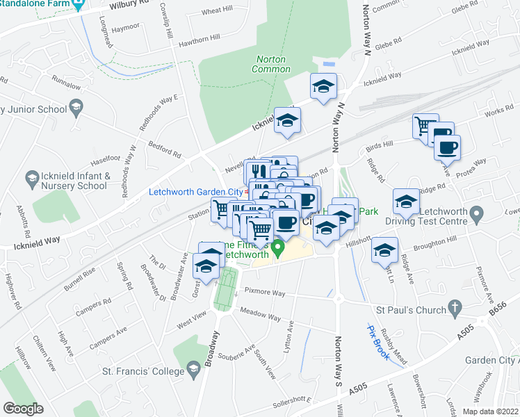 map of restaurants, bars, coffee shops, grocery stores, and more near Station Place in Hertfordshire