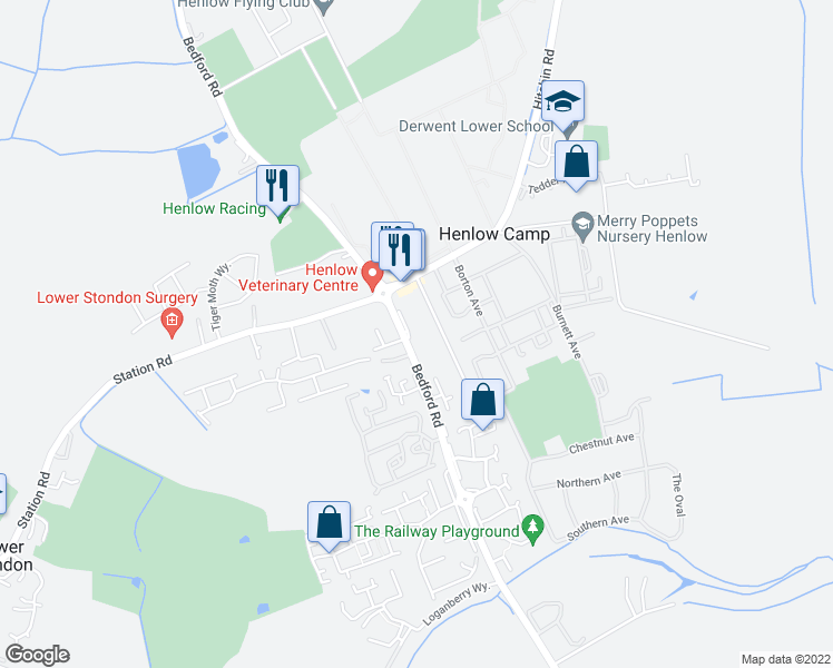 map of restaurants, bars, coffee shops, grocery stores, and more near Bedford Road in Central Bedfordshire