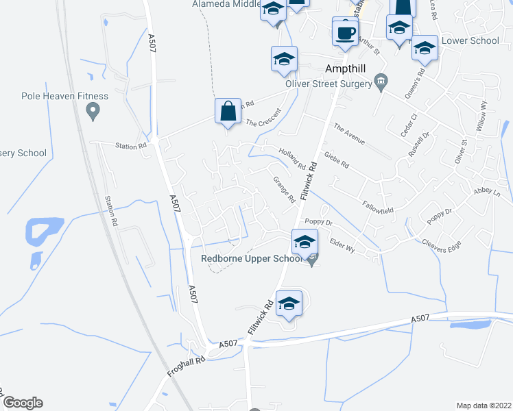 map of restaurants, bars, coffee shops, grocery stores, and more near Tavistock Avenue in Ampthill