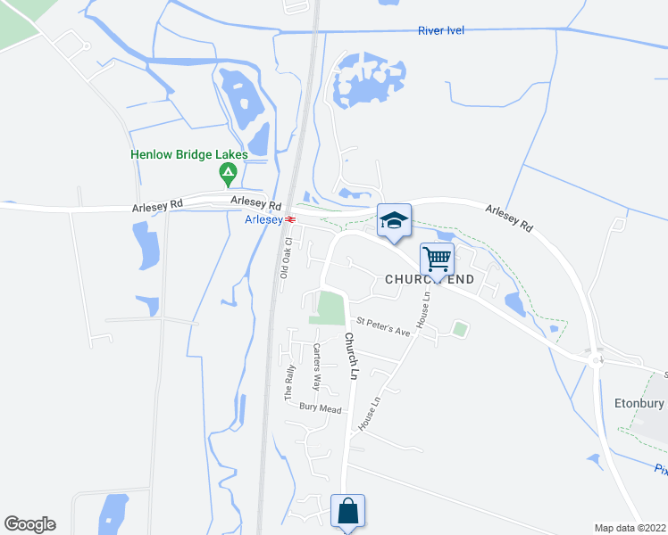 map of restaurants, bars, coffee shops, grocery stores, and more near Church Lane in Central Bedfordshire