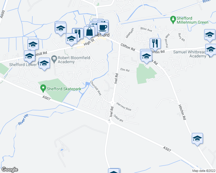 map of restaurants, bars, coffee shops, grocery stores, and more near in Central Bedfordshire