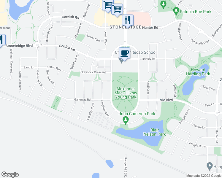 map of restaurants, bars, coffee shops, grocery stores, and more near 334 Stonebridge Common in Saskatoon