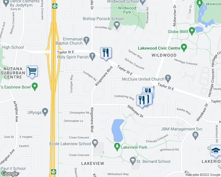map of restaurants, bars, coffee shops, grocery stores, and more near 135 Coldspring Crescent in Saskatoon
