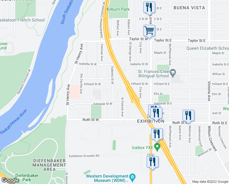 map of restaurants, bars, coffee shops, grocery stores, and more near 2227 Saint Andrews Avenue in Saskatoon