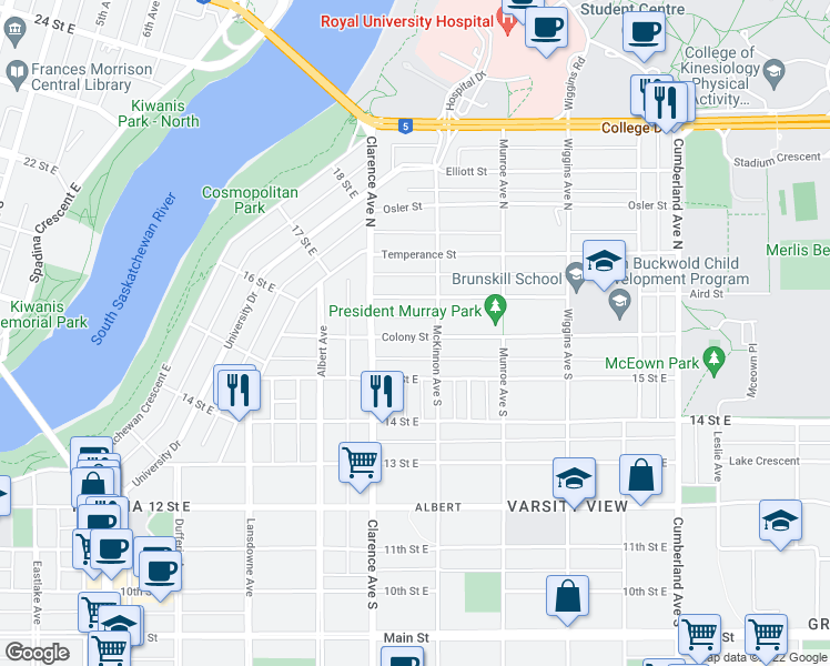 map of restaurants, bars, coffee shops, grocery stores, and more near 1025 Colony Street in Saskatoon