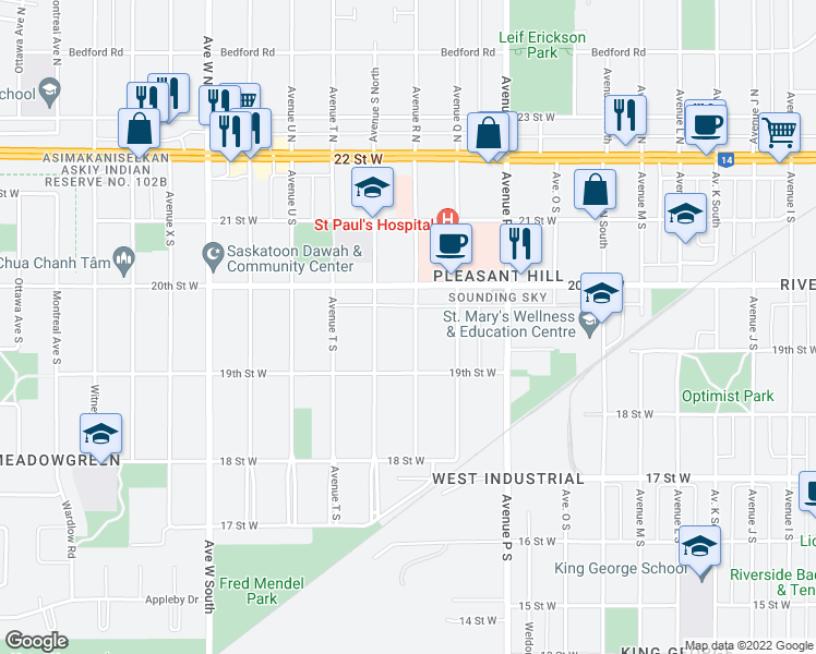 map of restaurants, bars, coffee shops, grocery stores, and more near 323 Avenue R South in Saskatoon