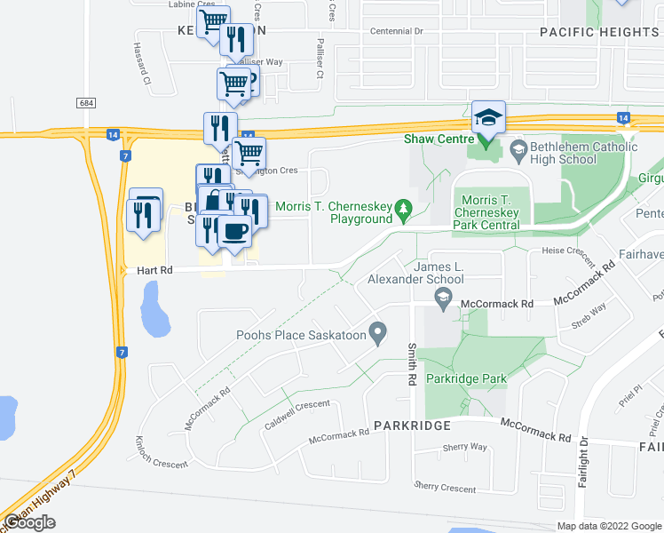 map of restaurants, bars, coffee shops, grocery stores, and more near 702 Hart Road in Saskatoon