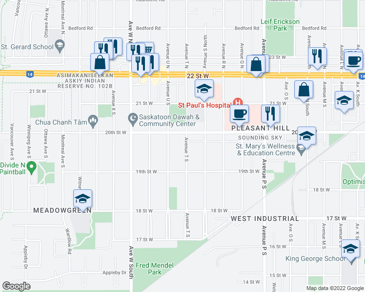 map of restaurants, bars, coffee shops, grocery stores, and more near 317 Avenue T South in Saskatoon
