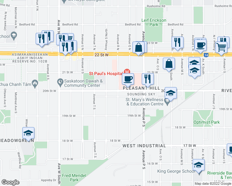 map of restaurants, bars, coffee shops, grocery stores, and more near 1801 20th Street West in Saskatoon