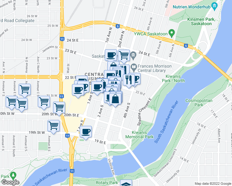 map of restaurants, bars, coffee shops, grocery stores, and more near 115 3 Avenue South in Saskatoon