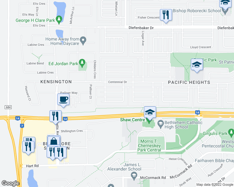 map of restaurants, bars, coffee shops, grocery stores, and more near 515 Michener Way in Saskatoon