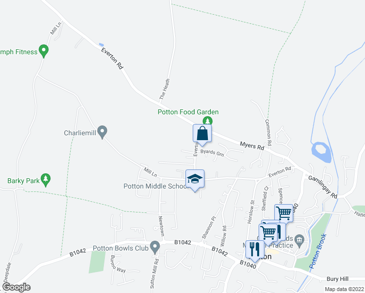 map of restaurants, bars, coffee shops, grocery stores, and more near Everton Road in Potton