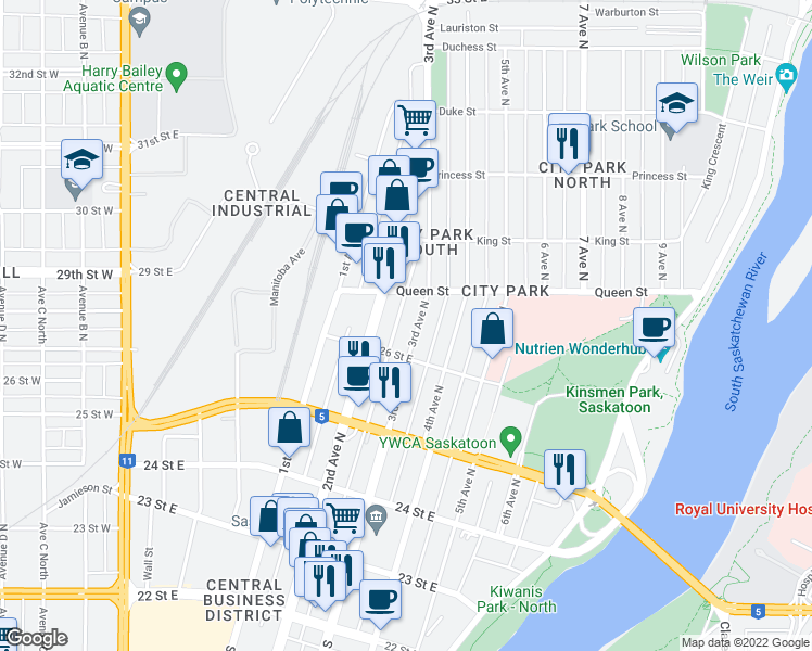 map of restaurants, bars, coffee shops, grocery stores, and more near 525 3rd Avenue North in Saskatoon