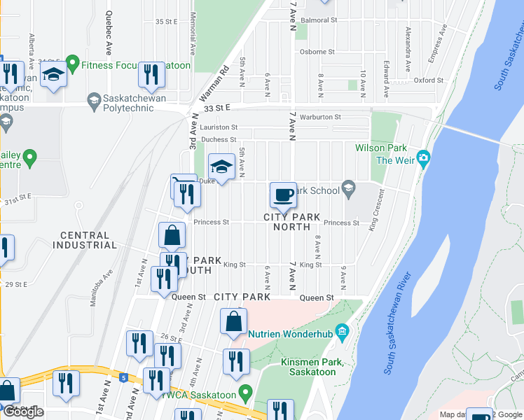 map of restaurants, bars, coffee shops, grocery stores, and more near 812 5th Avenue North in Saskatoon