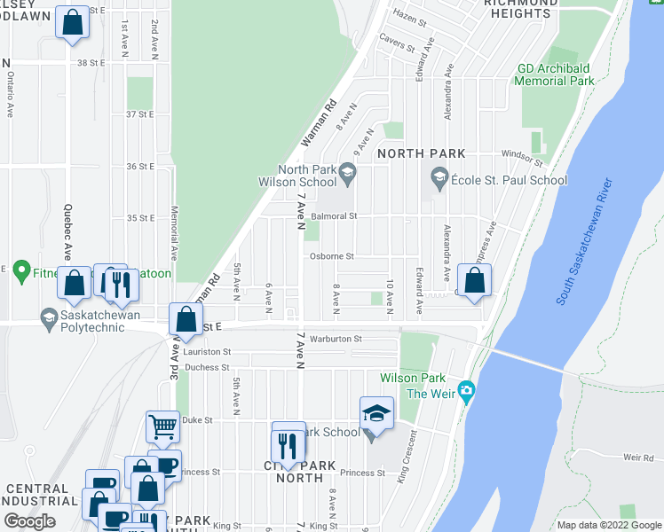 map of restaurants, bars, coffee shops, grocery stores, and more near 1317 8 Avenue North in Saskatoon
