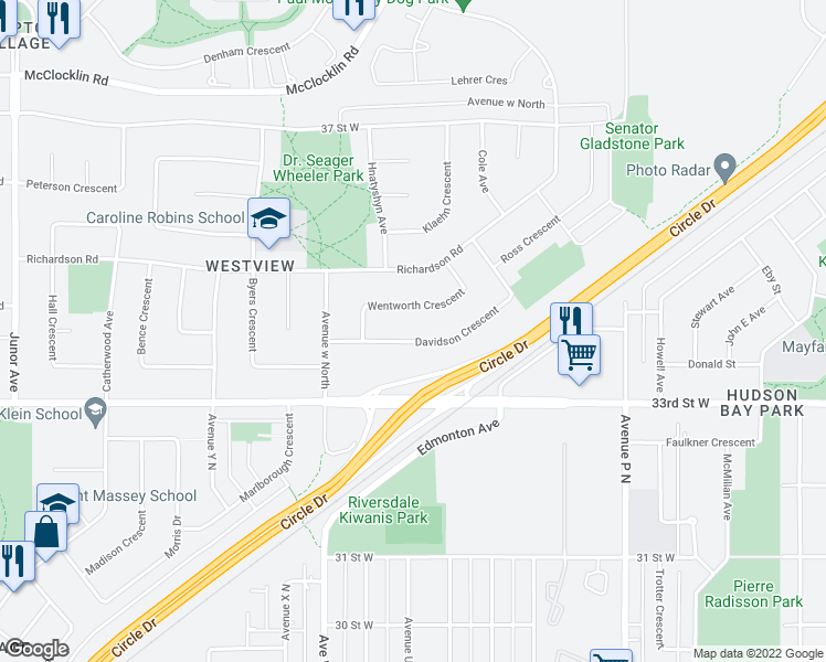 map of restaurants, bars, coffee shops, grocery stores, and more near 59 Wentworth Crescent in Saskatoon