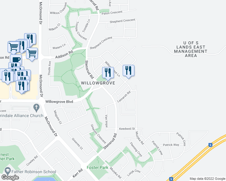 map of restaurants, bars, coffee shops, grocery stores, and more near 115 Willowgrove Crescent in Saskatoon