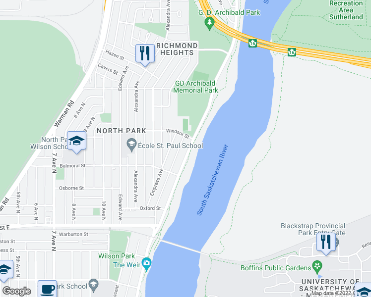 map of restaurants, bars, coffee shops, grocery stores, and more near 1539 Spadina Crescent East in Saskatoon