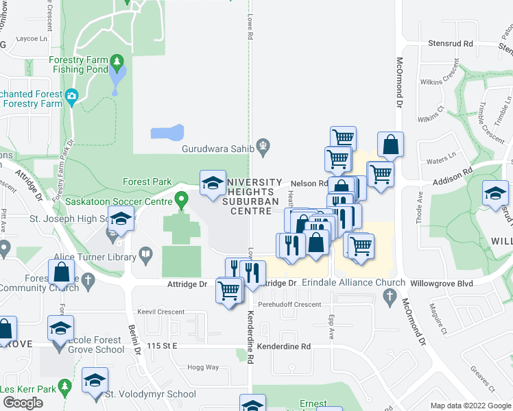 map of restaurants, bars, coffee shops, grocery stores, and more near 302 Lowe Road in Saskatoon