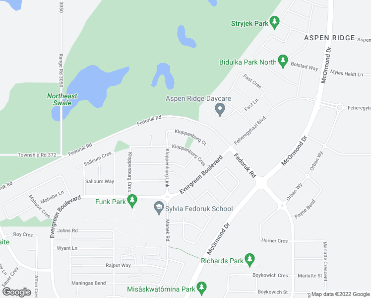 map of restaurants, bars, coffee shops, grocery stores, and more near 587 Kloppenburg Crescent in Saskatoon