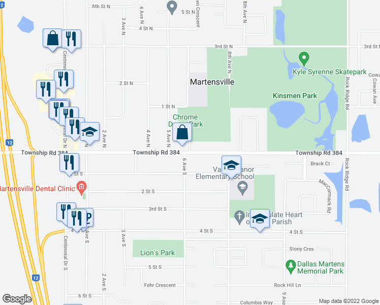 map of restaurants, bars, coffee shops, grocery stores, and more near Main Street in Martensville