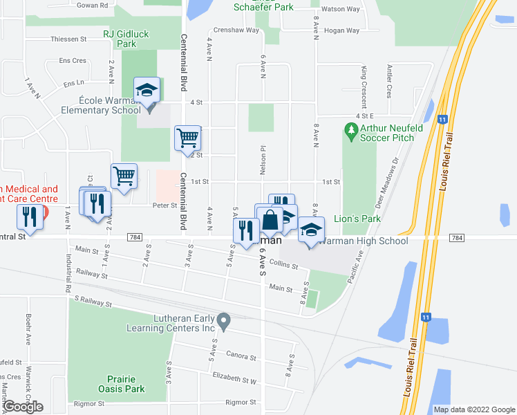 map of restaurants, bars, coffee shops, grocery stores, and more near 109 6 Avenue North in Warman