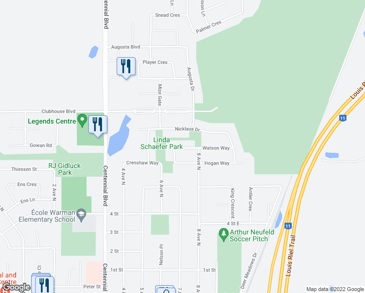 map of restaurants, bars, coffee shops, grocery stores, and more near 420 Faldo Crescent in Warman