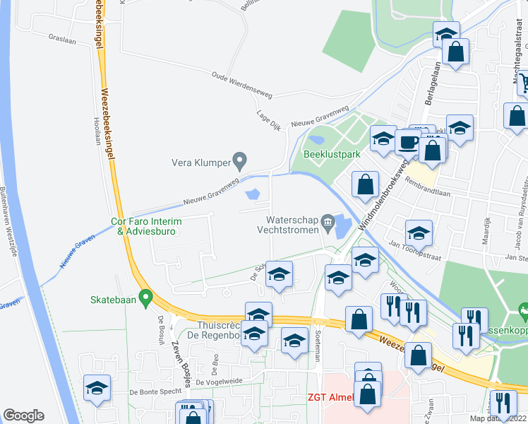 map of restaurants, bars, coffee shops, grocery stores, and more near 6 Groeneveldsweg in Almelo