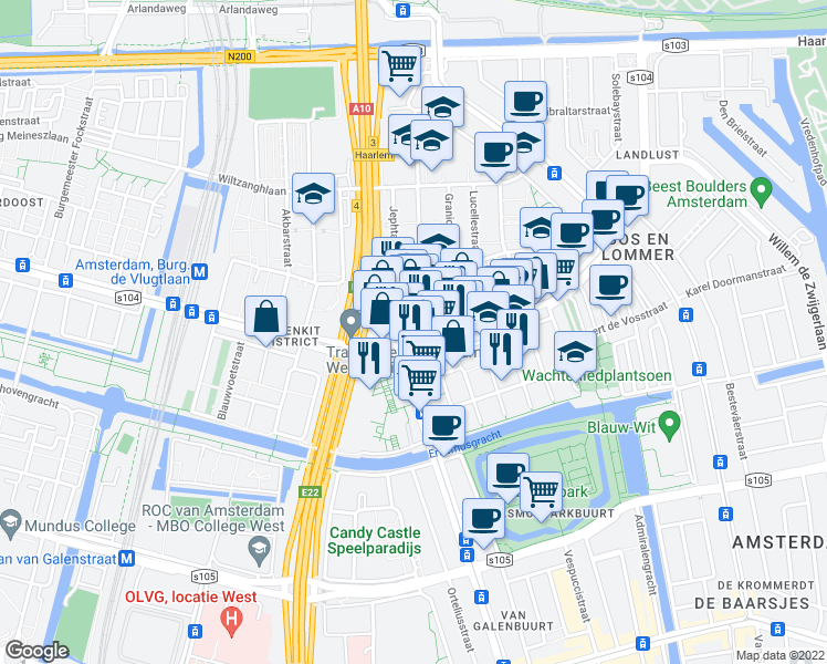 map of restaurants, bars, coffee shops, grocery stores, and more near 92 Bos en Lommerplein in Amsterdam