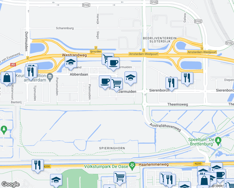 map of restaurants, bars, coffee shops, grocery stores, and more near 50 Jarmuiden in Amsterdam
