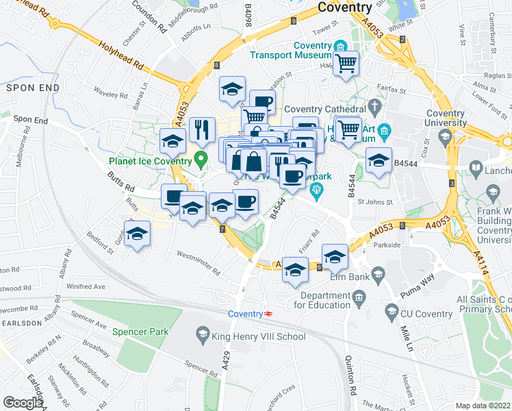 map of restaurants, bars, coffee shops, grocery stores, and more near in West Midlands