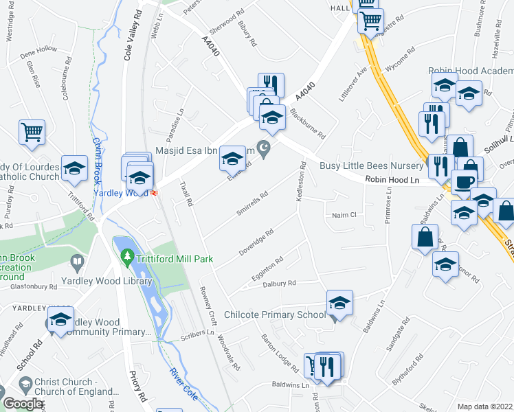 map of restaurants, bars, coffee shops, grocery stores, and more near Smirrells Road in West Midlands