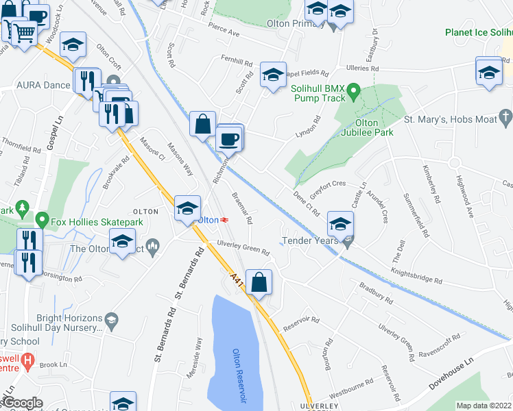 map of restaurants, bars, coffee shops, grocery stores, and more near Oban Road in West Midlands