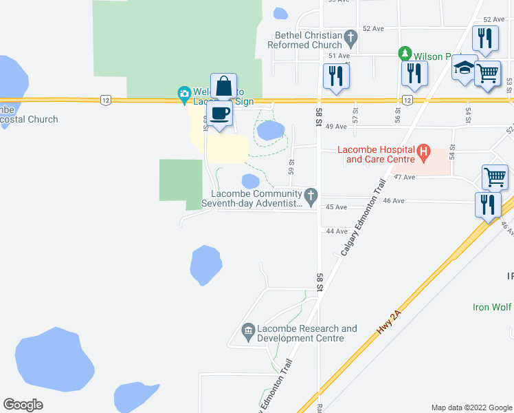 map of restaurants, bars, coffee shops, grocery stores, and more near 5922 45 Avenue in Lacombe