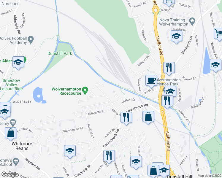 map of restaurants, bars, coffee shops, grocery stores, and more near The Chase in West Midlands