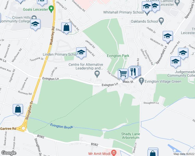 map of restaurants, bars, coffee shops, grocery stores, and more near in Leicester