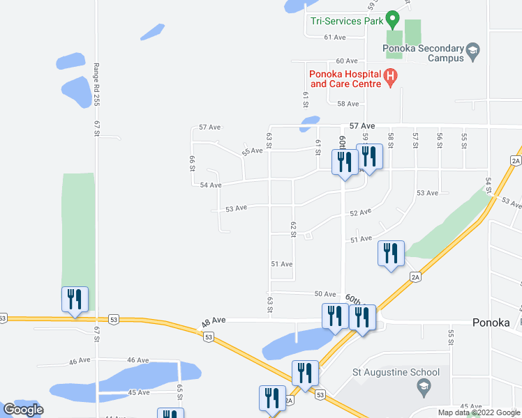 map of restaurants, bars, coffee shops, grocery stores, and more near 6305 53 Avenue in Ponoka