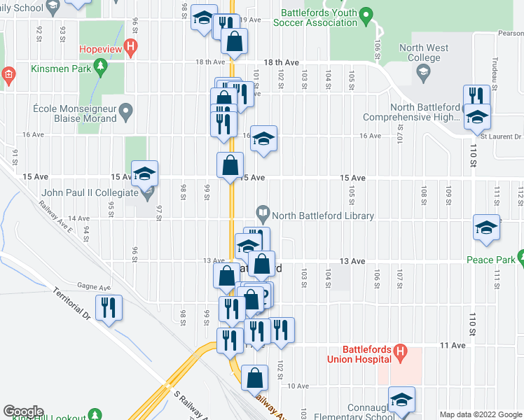 map of restaurants, bars, coffee shops, grocery stores, and more near in North Battleford