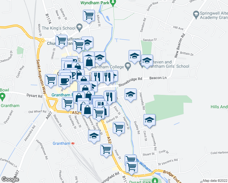 map of restaurants, bars, coffee shops, grocery stores, and more near in Grantham