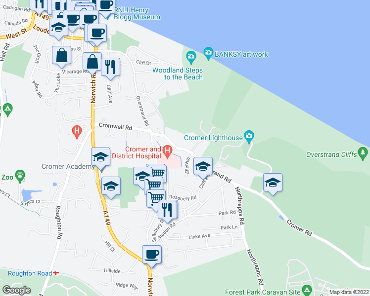 map of restaurants, bars, coffee shops, grocery stores, and more near 107 Overstrand Road in Cromer