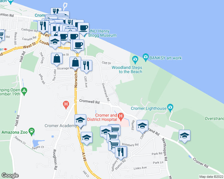 map of restaurants, bars, coffee shops, grocery stores, and more near in Cromer