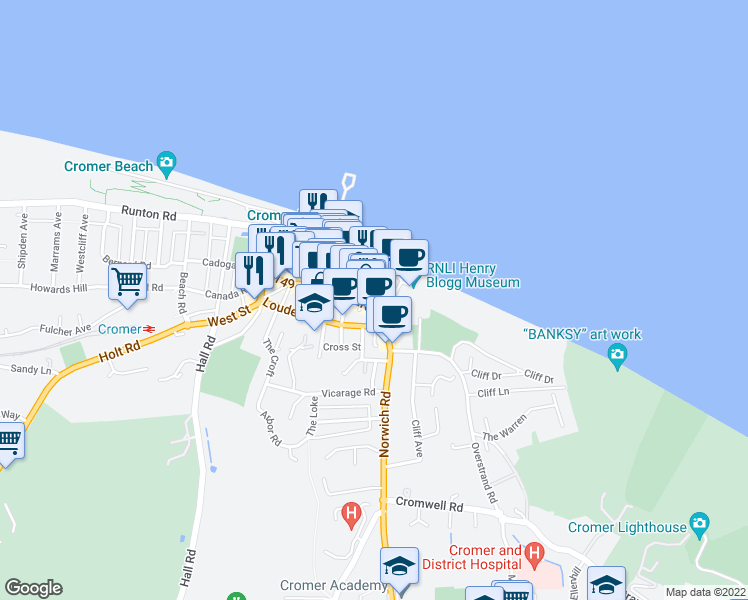 map of restaurants, bars, coffee shops, grocery stores, and more near Surrey Street in Cromer