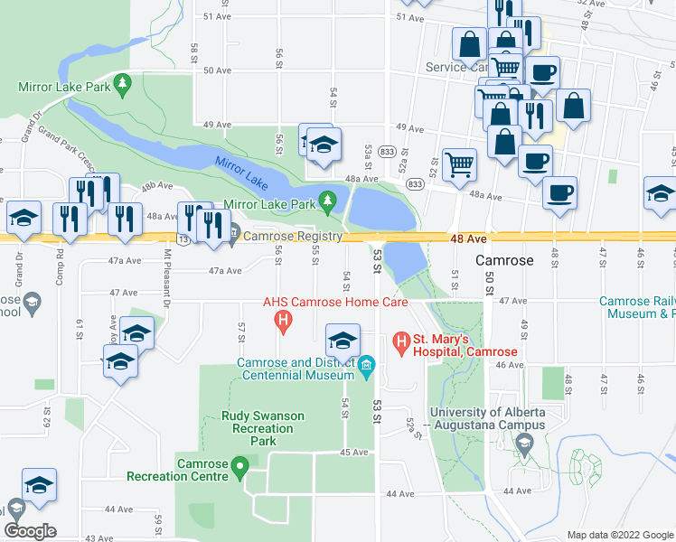 map of restaurants, bars, coffee shops, grocery stores, and more near 4712 54 Street in Camrose