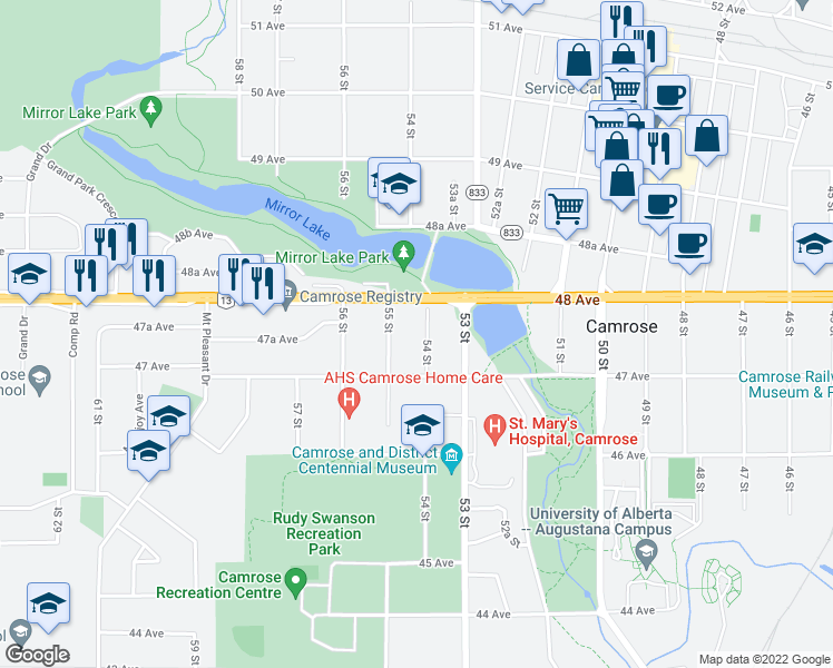 map of restaurants, bars, coffee shops, grocery stores, and more near 4718 54 Street in Camrose