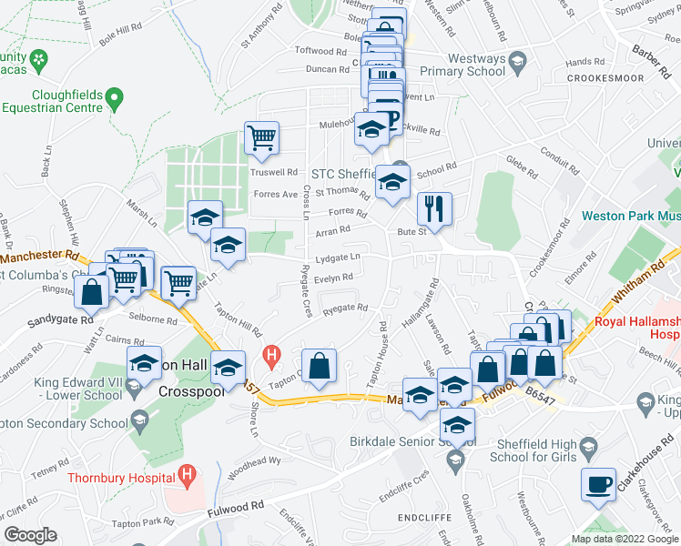 map of restaurants, bars, coffee shops, grocery stores, and more near Evelyn Road in South Yorkshire